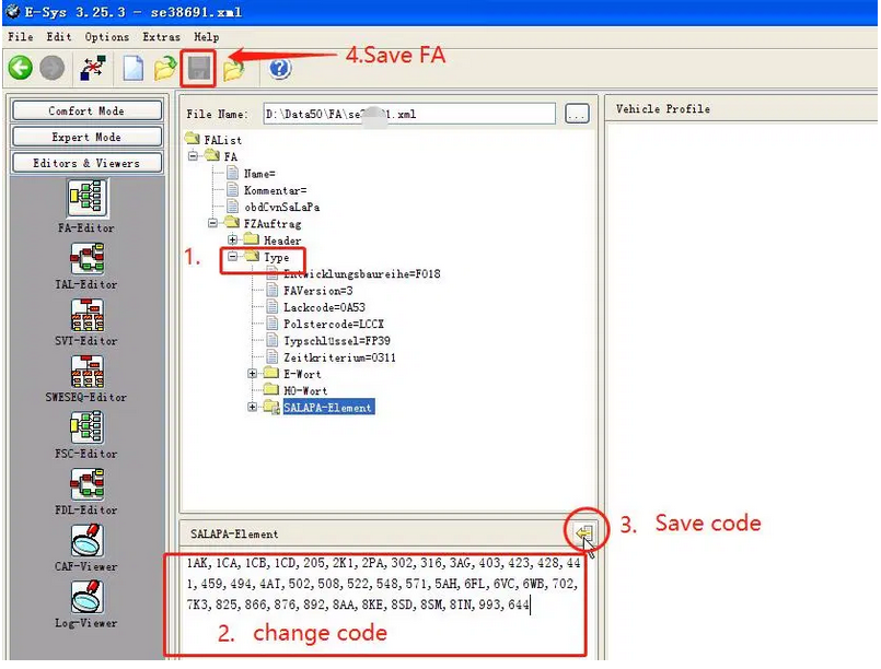 How-to-change-FA-code-with-E-SYS-3